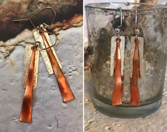 Sterling silver & copper earrings, textured sterling, wavy copper, dangle, modern, unique