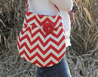 Red Chevron Bag, Zig Zag Cross Body Handbag with Red Flower, Red Chevron Hipster Bag, Fashion Bag, Hipster Hobo Style Pleated Handbag