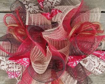 Cowboy Wreath, Rodeo Wreath, Country Wreath, Deco Mesh Wreath, Mesh Wreath, Rustic Wreath, Ribbon Wreath, Small Wreath