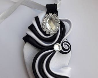 Black and white satin ribbon pendant