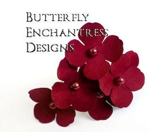 Red Hair Flowers, Woodland Wedding Hair, Bridal Accessories - 6 Dk Red Adora Hydrangea Hair Pins - Pearl Centers