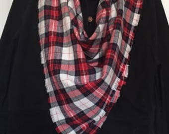 Blanket Scarf Plaid Scarf Winter Scarf Flannel Scarf Scarf Women Fashion Accessory Hand Frayed Scarf Navy White Red Scarf