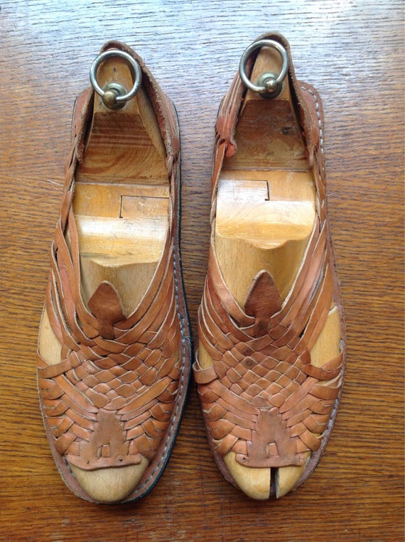 Vintage handmade brown leather Mexican Huraches sandals mens womens 8.5 woven flat summer