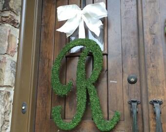 Moss Covered SCRIPT Wedding Door Initial Letter Wreath 24 inch