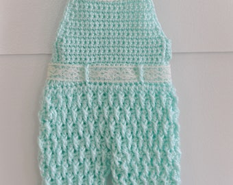 Newborn overalls crochet overalls photo prop baby girls crochet pants crochet mint green newborn romper longalls shower gift ready to ship