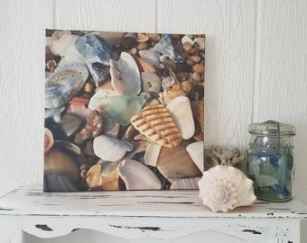 Seafoam Sea Glass Canvas Wall Hanging