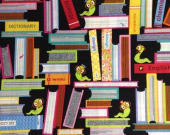 One Half Yard of Fabric - Bookworm, Books, Back to School Fabric, Library Fabric, Book Bag Fabric, Book Cover Fabric