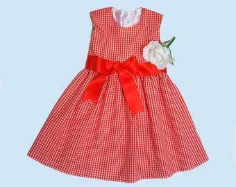 Red gingham dress Girl baby toddler size 3 months - 6 years with optional panties/bloomers