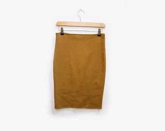 Mustard Knit Midi Skirt M