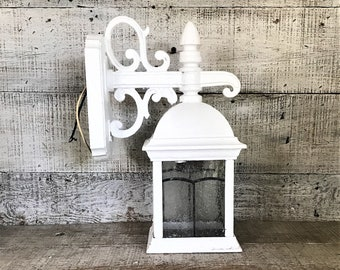 Porch Light White Exterior Light Coach Lantern Front Door light Porch Stained Glass Wall Sconce Lamp Cottage Chic Outdoor Light