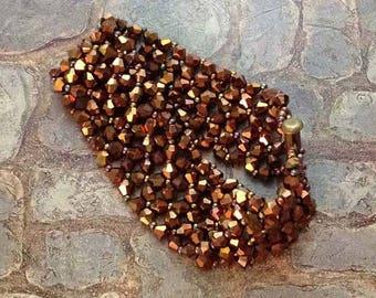 Copper Beaded Cuff Bicone Bracelet Beaded Copper Cuff Bead Woven Bracelet Beadwork Bracelet Beaded Bracelet Seed Bead Bracelet RAW Bracelet