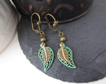 Leaf Earrings, Antique Brass Leaf Earrings,Verdigris Patina Painted Earrings, Patina Jewelry, Nature Botanical Jewelry, Leaf Jewelry, Boho
