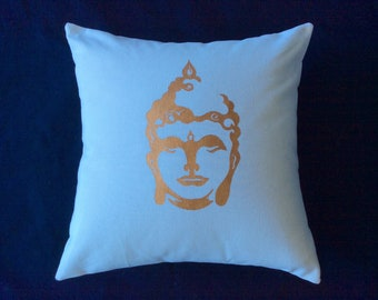 Handmade pillow- white- buddha