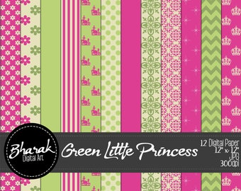 Green Little Princess Digital paper-Green Princess Pequeñ-Green & Fuchsia-Scrapbook-invitations-12 papers