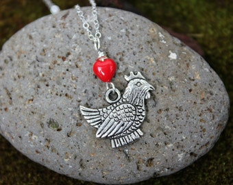 I love Chickens necklace - fat silver hen under red glass heart, sterling silver chain -Free Shipping USA