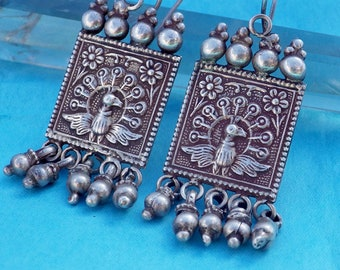 Tribal ethnic Indian vintage style tassle silver earrings with peacock birds ~ boho square rectangle