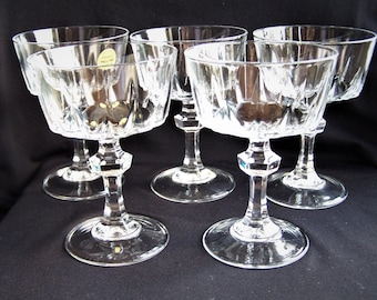 Princess House Esprit 5 Crystal Champagne Glasses, Vintage Crystal Coupe Champagne Glasses