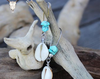 Cowrie Shell and Turquoise Chip Boho Earrings
