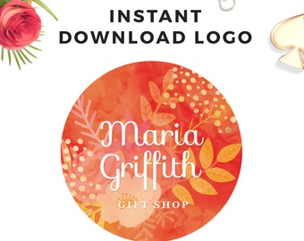 Instant download Watercolor Floral Logo - DIY Premade Logo Design - Flower Gold Logo - Circle Logo - PSD Logo Template - Premade Watermark
