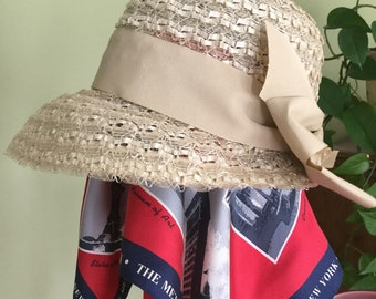 Vintage Authentic 1930-40s Gatsby Flapper Ladies Summer Cloche Hat with Ribbon trim/ original tag
