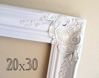 20x30 Picture Frame Photography Prop Wood Frame Photo Prop Empty Frame Baroque White Frame Ornate Picture Frame Large Shabby Chic Wall Decor