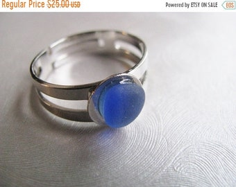 Mothers Day Sale Beach Glass Jewelry - Sea Glass Ring - Cornflower Blue Ring - Beach Glass Ring