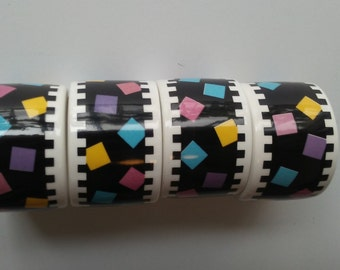 Napkin Rings 80s Art Deco Napkin Rings Black Napkin Holders Colorful Napkin Rings Set of Four Napkin Rings