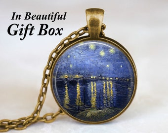 Starry Night Over the Rhone Necklace • Vincent Van Gogh • Van Gogh Jewelry • Post-Impressionism Art Pendant • Gift For Her