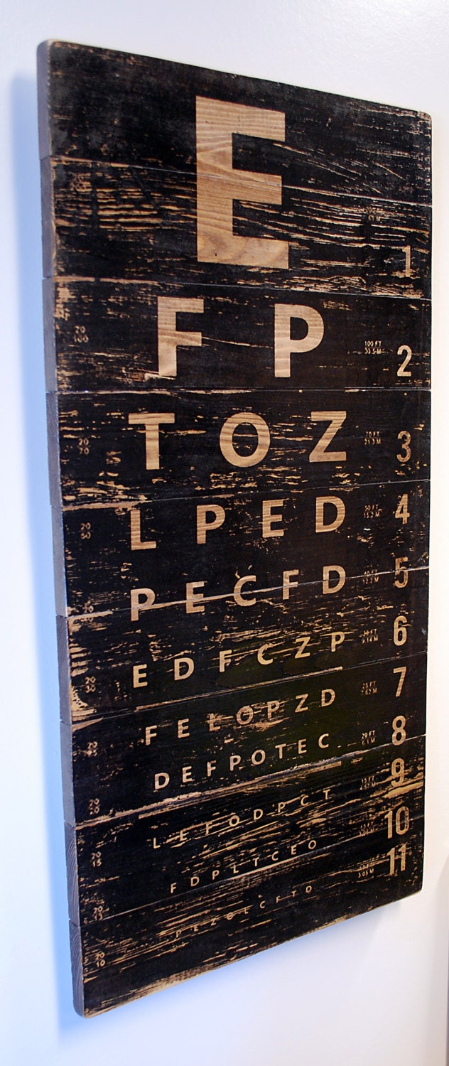 Vintage Eye Chart Wall Art Retro Sign On Distressed Solid Wood 32