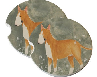 Bull Terrier with White Flowers Natural Sandstone Drink Coaster Sets Home Decor Car Bull Terrier Gift Bull Terrier Coasters Bullie Dog