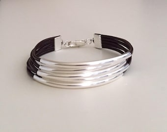 Leather bracelet Beaded bracelet Wrap bracelet Fashion jewelry Silver plated  Women's leather bracelet Color Black