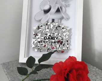 Marc Jacobs Daisy Perfume picture silver or dusky pink,3d box framed, bathroom,living room,conservatory,personalised,,beauty salon,Daisy