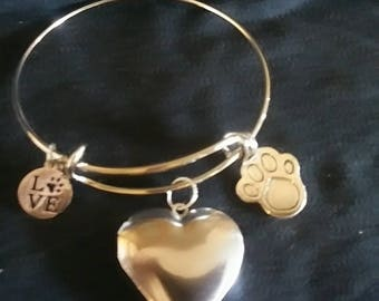 Love My Pet Heart Locket Bracelet-Memorial or Every Day