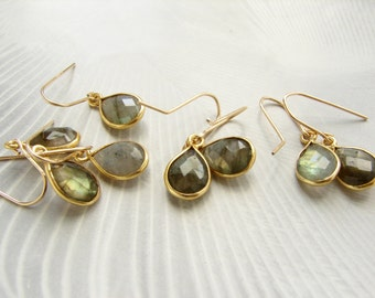 Labradorite drop earrings, Bridesmaid jewelry, gemstone teardrop earrings, gemstone earrings, labradorite teardrop earrings