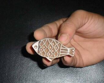 Wood Block Printing Hand Carved Indian Wood Textile Block Stamp Fish Motif