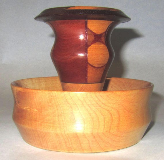 """Solid and Segmented Wood Turned Bowl – """"95-9"""" – Unusual Design for Creative Uses"""