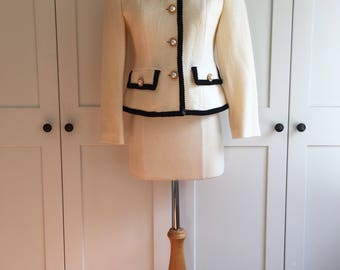 Vintage Mid-90s Barrie Pace Ivory and Black Knit Jacket, Classic Styled VTG Jacket with Pockets, Pearl and Gold Buttons, Black Trim Day Wear