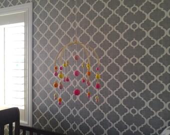 Chandelier Pink Felt Ball Mobile, Felt Ball Mobile, Nursery Decor, Baby Decor, Pastel Nursery Decor