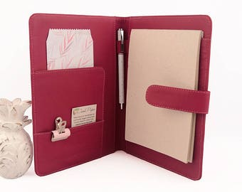A5 Leather PadFolio / Portfolio / Note Pad Holder, Personalized, 2 inside pockets, buckle & Cocoa Paper note pad.