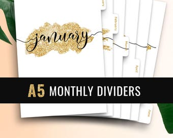 A5 Monthly Planner Dividers • Monthly Planner Insert Printable Tabbed Filofax Monthly Dividers A5 Printable Dividers A5 Monthly Tabs Kikki K