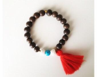 Wood Bead Tassel Bracelet - Geranium & Turquoise
