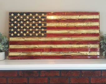 Distressed, Rustic, Wooden American Flag // 3'