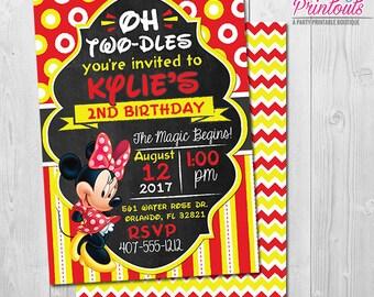 Red Minnie Mouse Invitation 2nd Birthday, Minnie Mouse 2nd Birthday Invitation Minnie 2nd Birthday Invitation 1st Birthday Invitation Girl