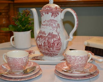 English Mismatched Staffordshire Pink Afternoon Tea Set with Large Teapot for Two plus Two Cups, Saucers, Side Plates and Sandwich Plate