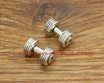 5pcs Barbell Charms 3D Fitness Workout Charm Antique Silver Tone 18x11x11mm cf3206
