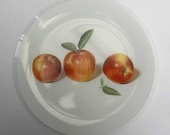 Bent Glass Serving Dishes Apples Vintage