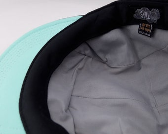 Handmade 5 panel hat - Black Neon Mint- Real leather patch and real leather strap