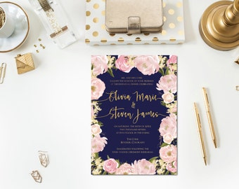 Navy | Gold | Blush Rehearsal Dinner Invitations