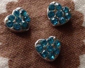 Teal blue rhinestone heart floating charm