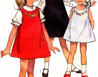 Simplicity 5734 1960s Girls' Jumper And Short Or Long Sleeve Blouse Sewing Pattern